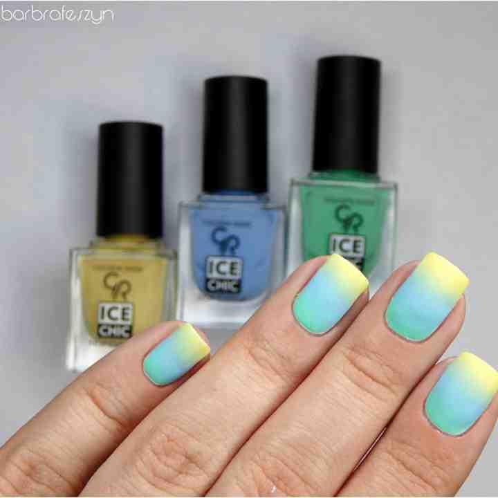 Zabawa kolorami, malujemy paznokcie pastelowymi kolorami gradientu! Paznokcie w kolorze zieleni, błękitu i żółcieni.