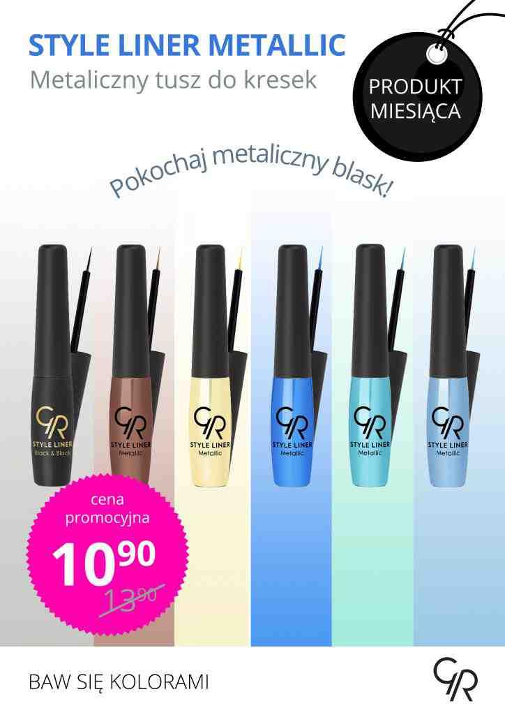Znajdź swój sposób na piękne metaliczne spojrzenie z Golden Rose! Style Liner Metallic w rewelacyjnej cenie 10,90!